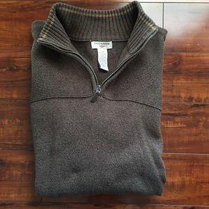 Men's Dockers 1/4 Zip Brown Pullover Sweater Large